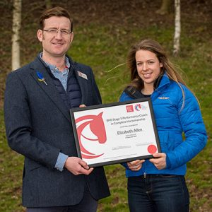 David Sheerin BHSI presents Elizabeth Allen with her BHS Stage 5 Performance Coach award at the 2018 British Horse Society Convention - Hartpury Arena, Gloucestershire, United Kingdom - 26 March 2018